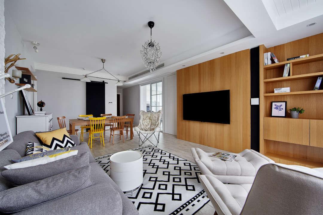 138㎡现代北欧三居电视背景墙装修效果图