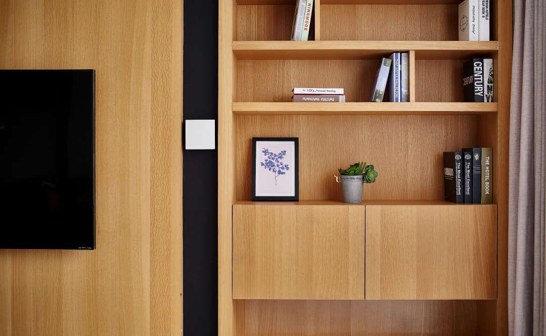 138㎡现代北欧三居书柜装修效果图