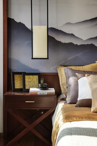 120平米新中式风格装修床头特写
