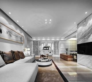大户型新中式客厅装修设计图