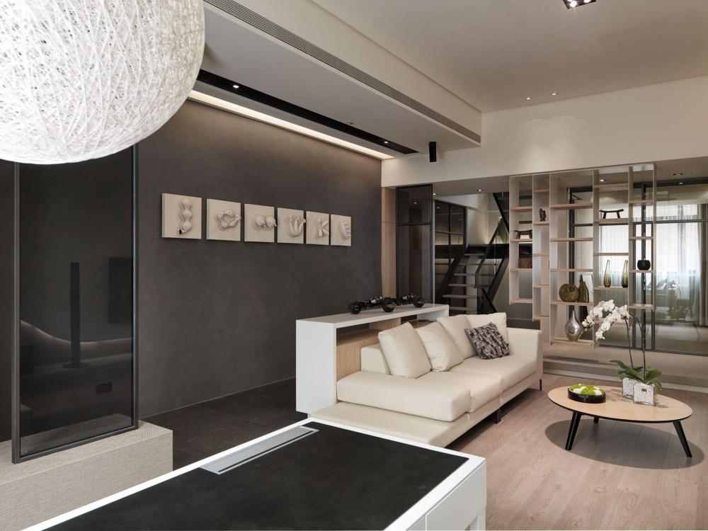 简约现代公寓沙发背景墙装修设计效果图
