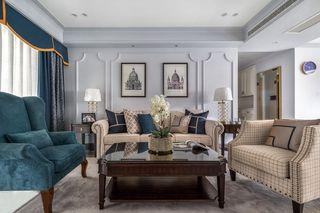 轻奢美式风格三居沙发背景墙装修效果图