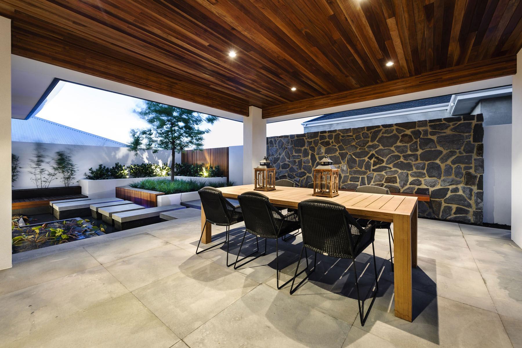 中式现代混搭别墅庭院装修效果图