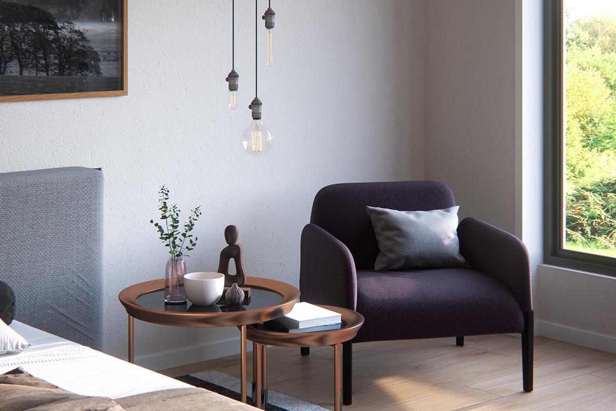 简约风公寓装修茶几沙发设计效果图