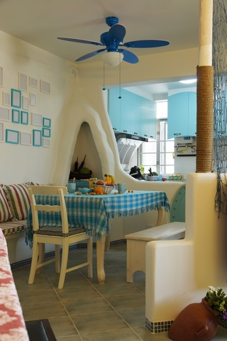 90㎡地中海风格餐厅装修效果图