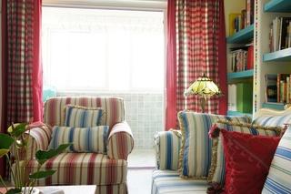 90㎡地中海风格装修沙发窗帘搭配图