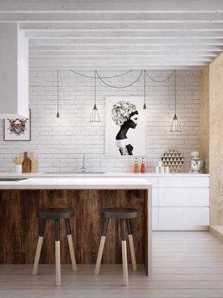 105㎡混搭风公寓厨房装修效果图