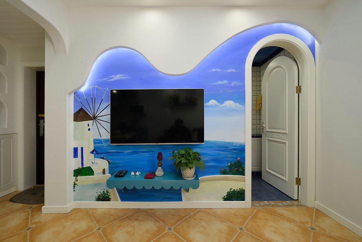 地中海风格二居电视背景墙装修效果图