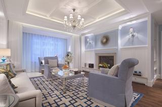 蓝色调美式风格客厅装修效果图