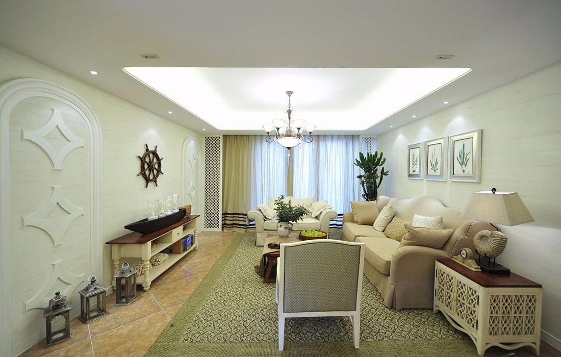 127平地中海风格客厅装修效果图