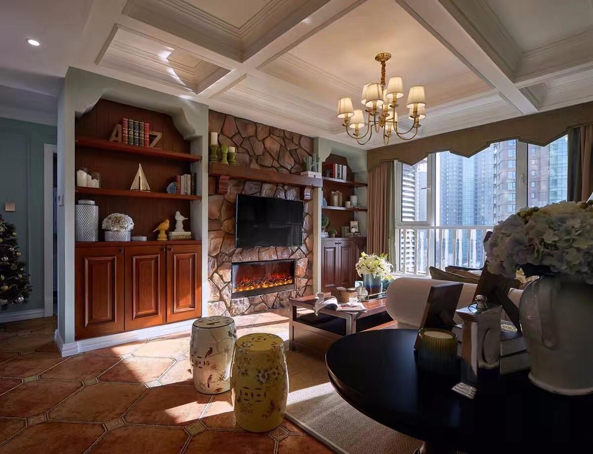 二居室美式风格电视背景墙装修效果图