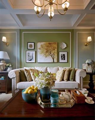 二居室美式风格沙发背景墙装修效果图