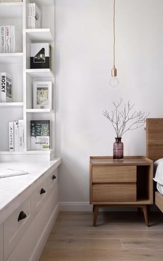 白色北欧风二居装修床头柜设计图