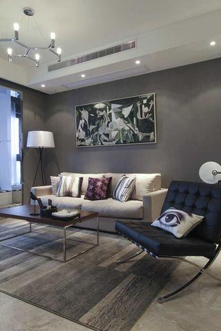 灰色调现代风二居沙发背景墙装修效果图