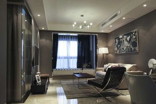 灰色调现代风二居客厅装修效果图
