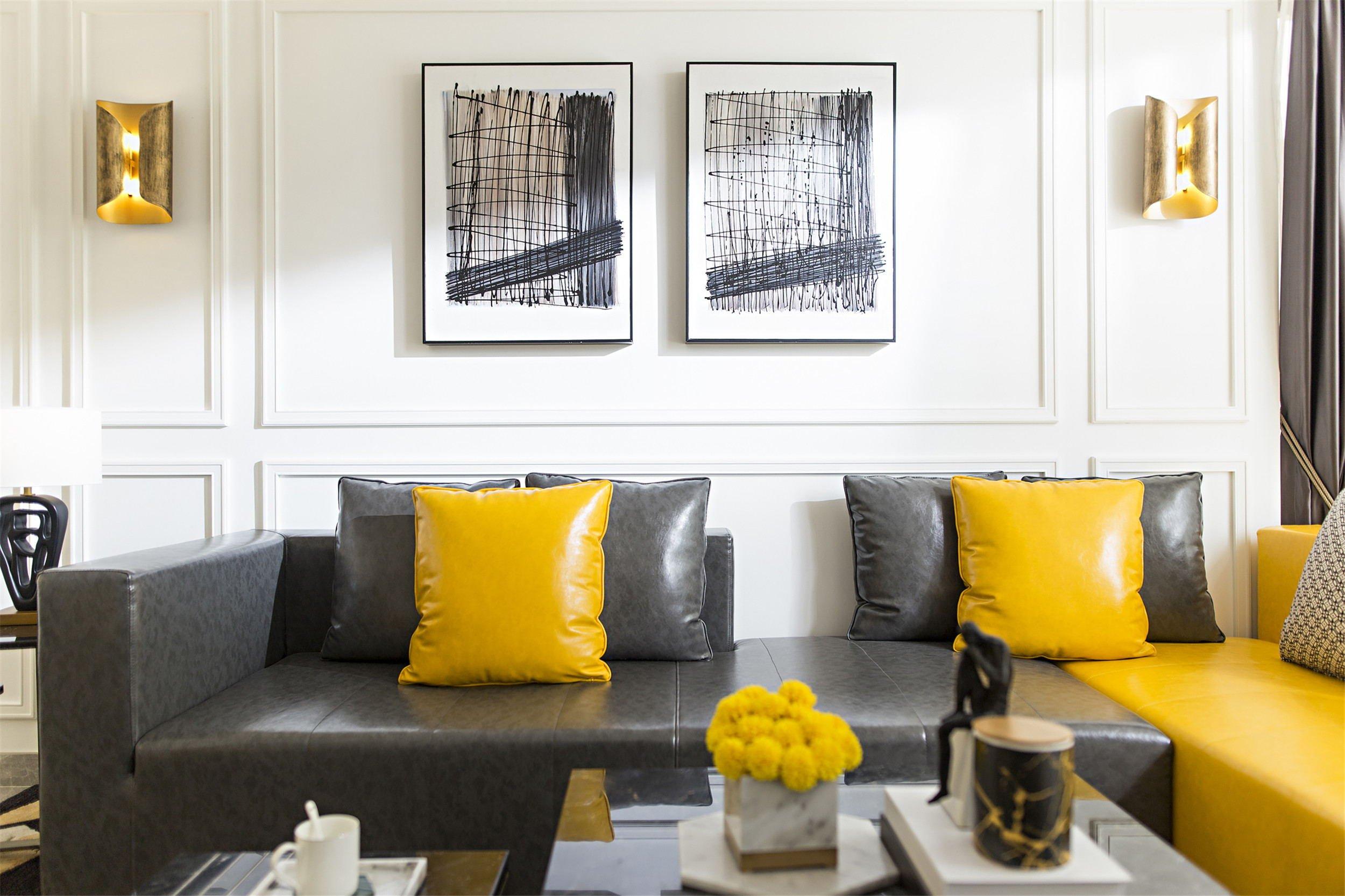 时尚摩登样板房装修沙发抱枕搭配图