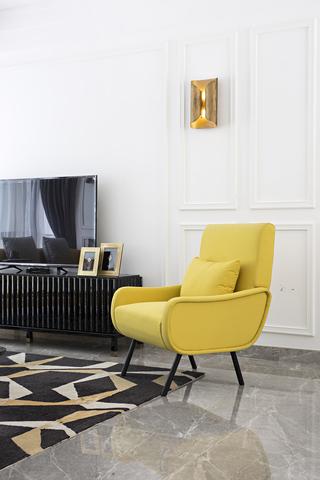 时尚摩登样板房装修黄色沙发椅设计图