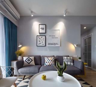 89㎡北欧风三居沙发背景墙装修效果图