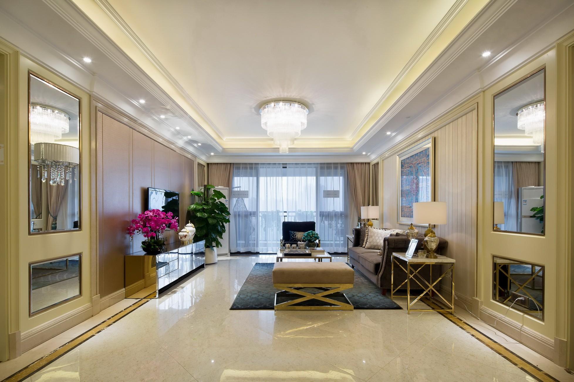 简欧风格样板房客厅装修效果图