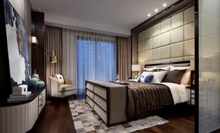 新中式三居室样板房卧室装修效果图