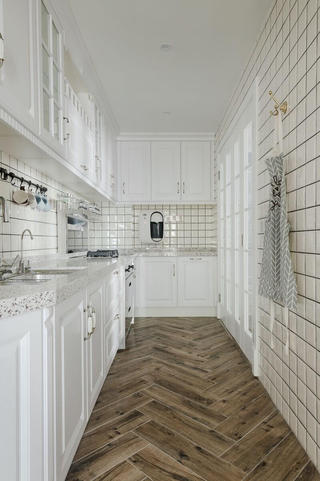 128㎡美式风格三居厨房装修效果图
