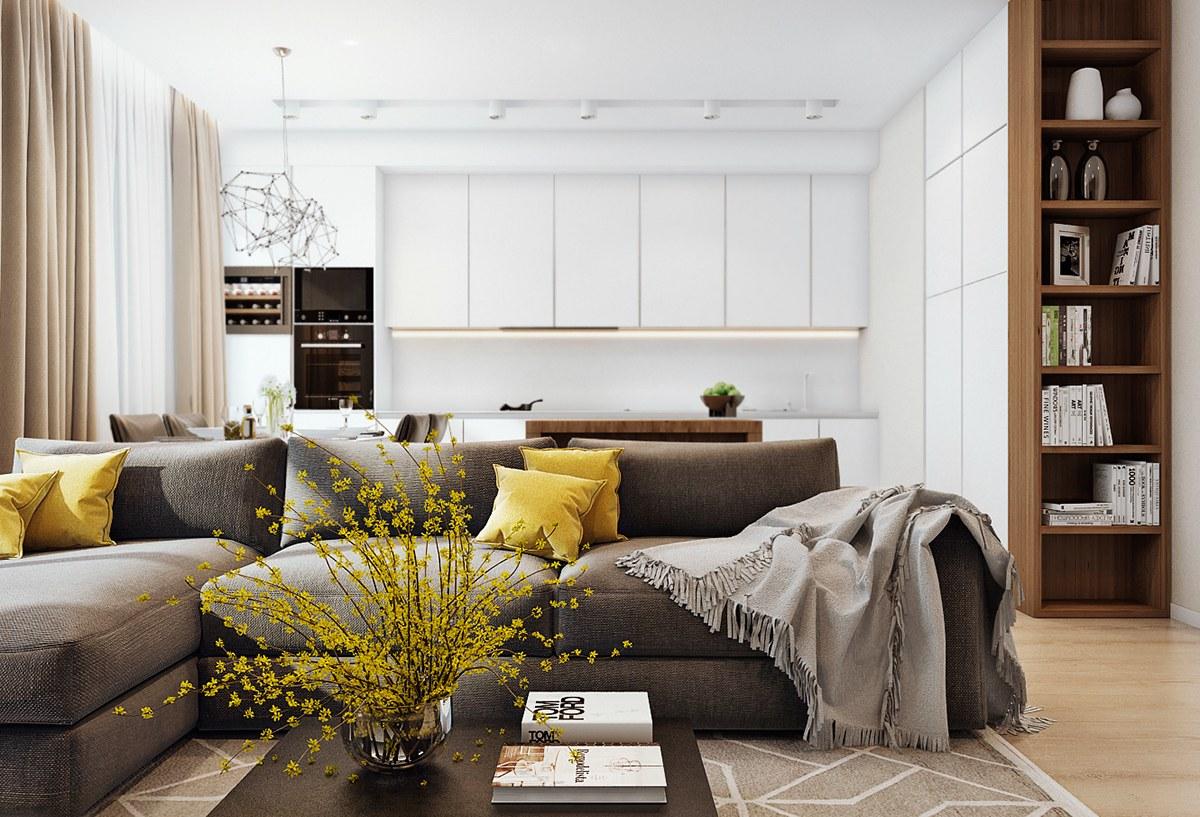 三居室现代公寓装修沙发设计图