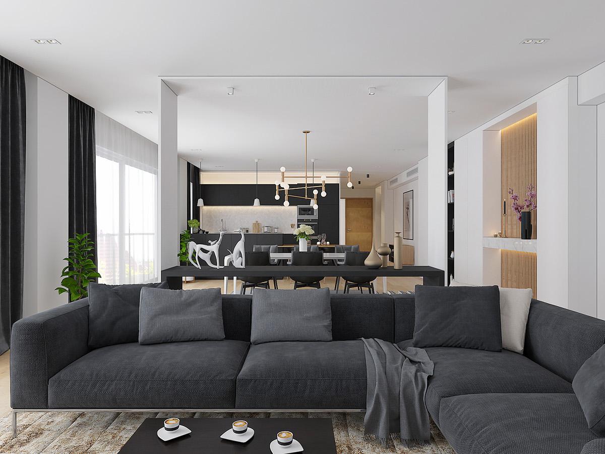 大户型简约风格装修沙发设计图