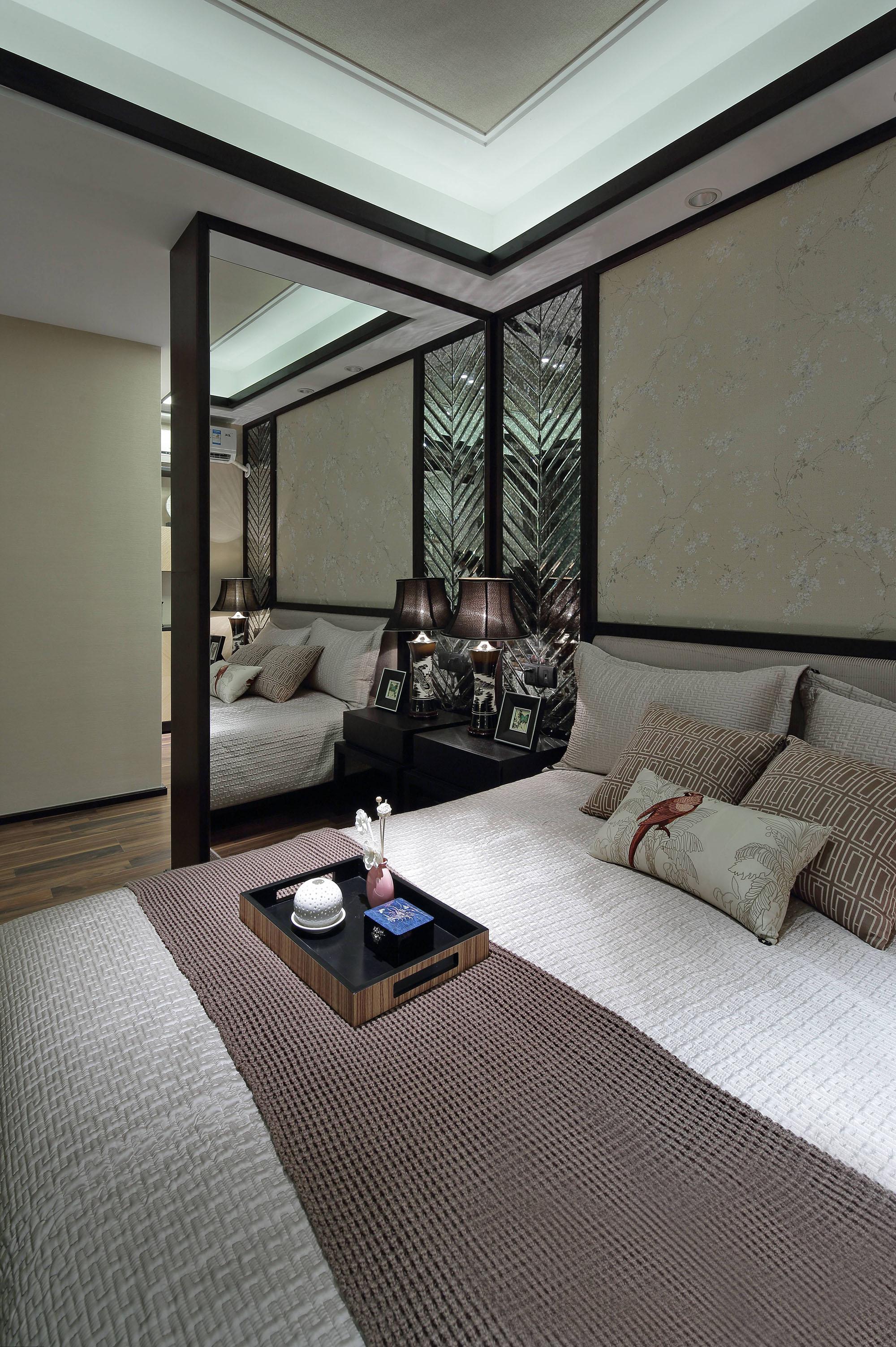 新中式风格样板房卧室装修效果图