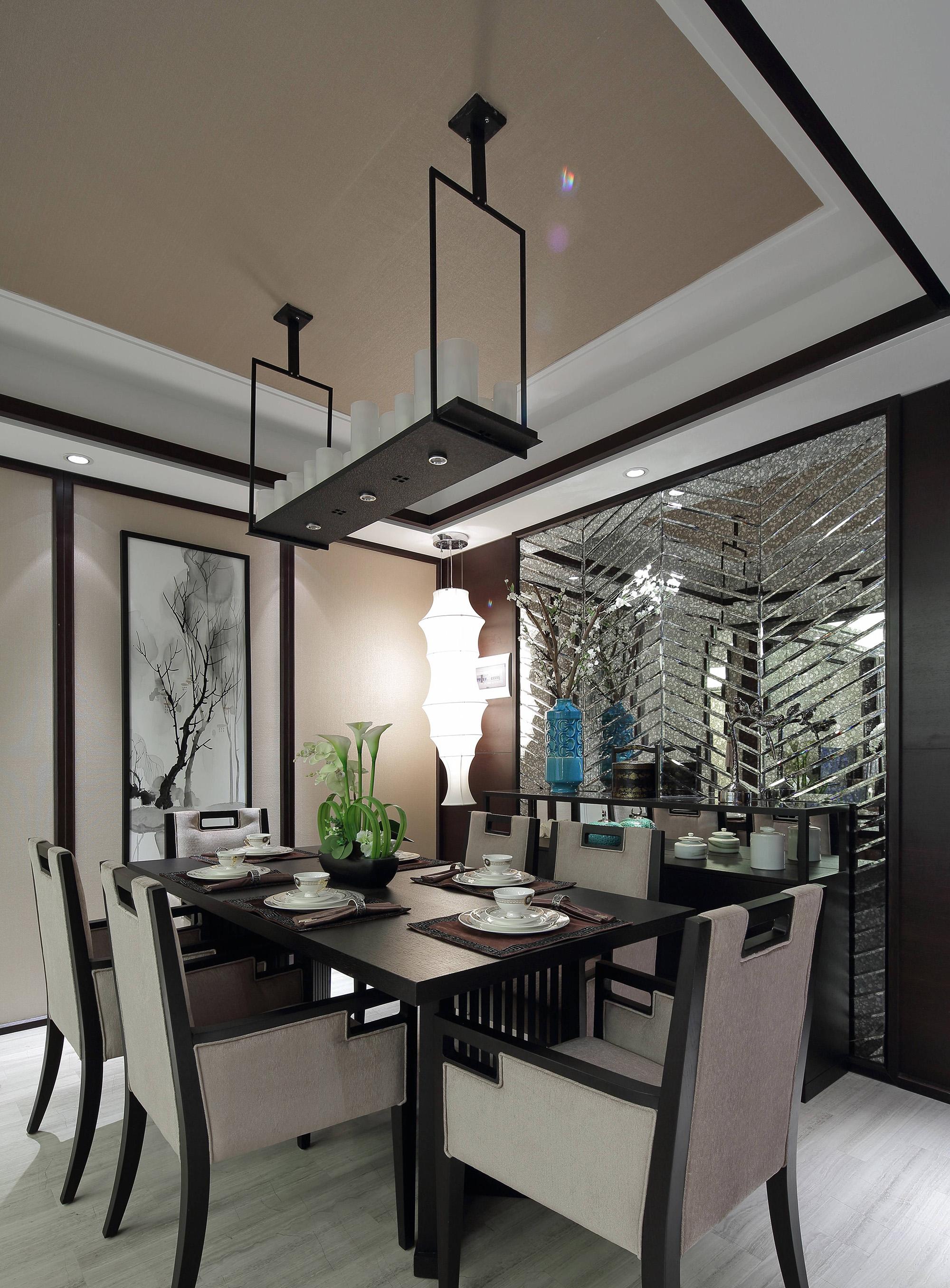 新中式风格样板房餐厅装修效果图