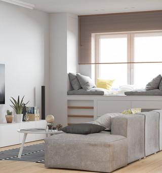 复式北欧风公寓客厅装修效果图