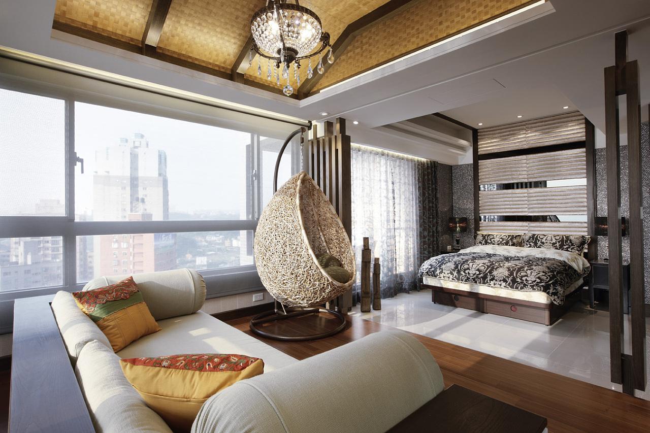 现代混搭公寓卧室休闲区装修效果图