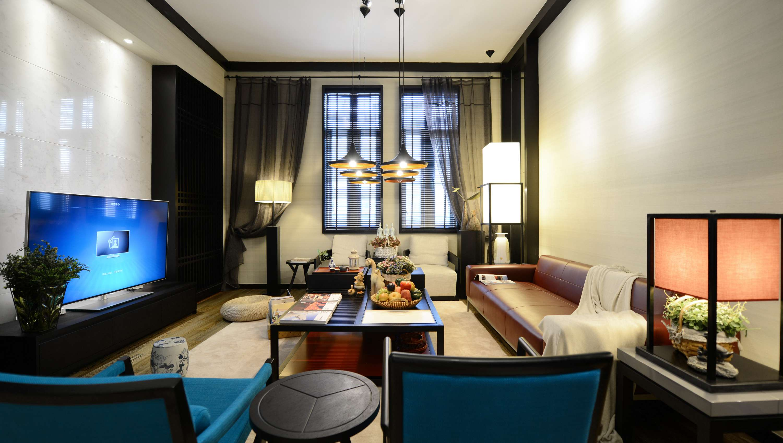 大户型现代中式风格客厅装修效果图