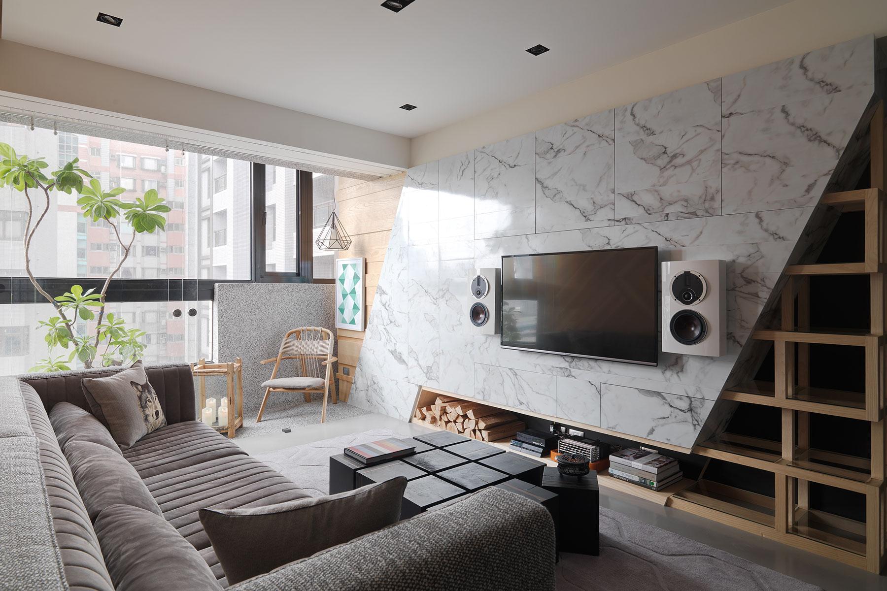 132㎡现代风格电视背景墙装修效果图