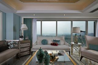 大户型现代简欧客厅落地窗装修效果图