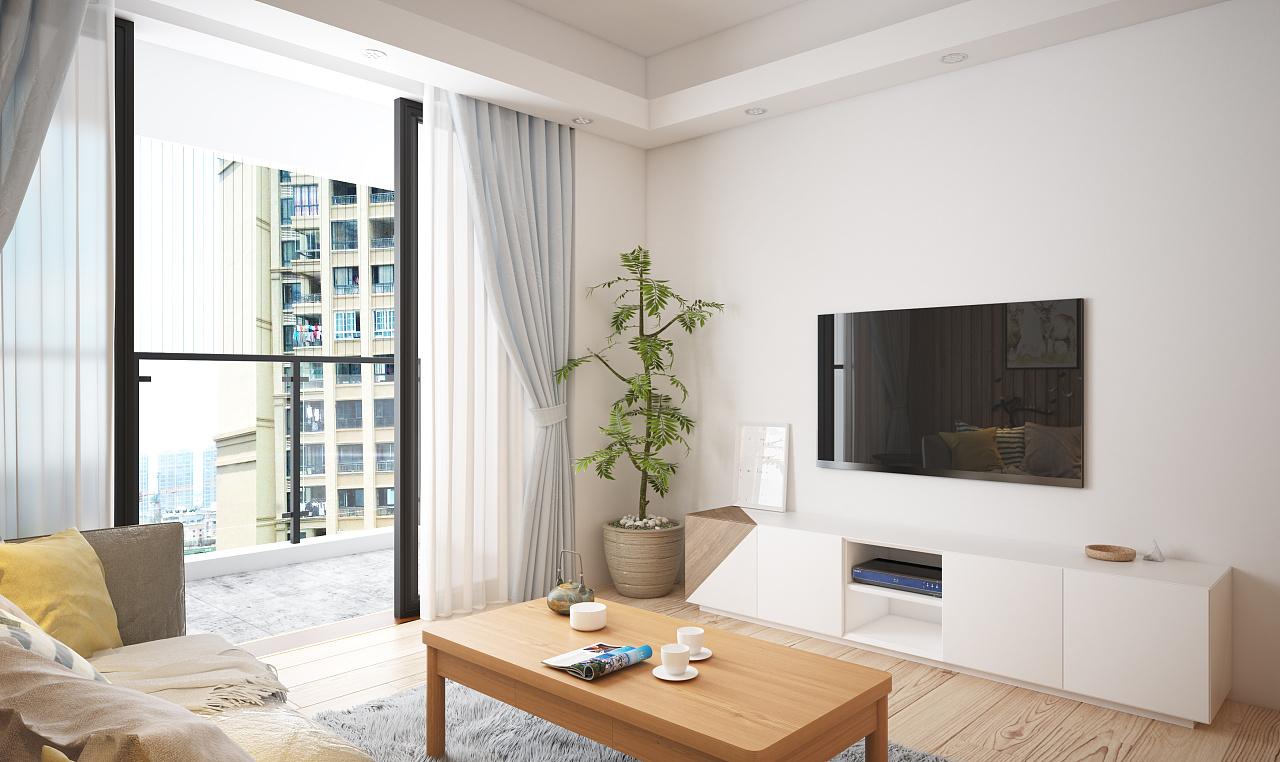 小户型简约白色电视背景墙装修效果图