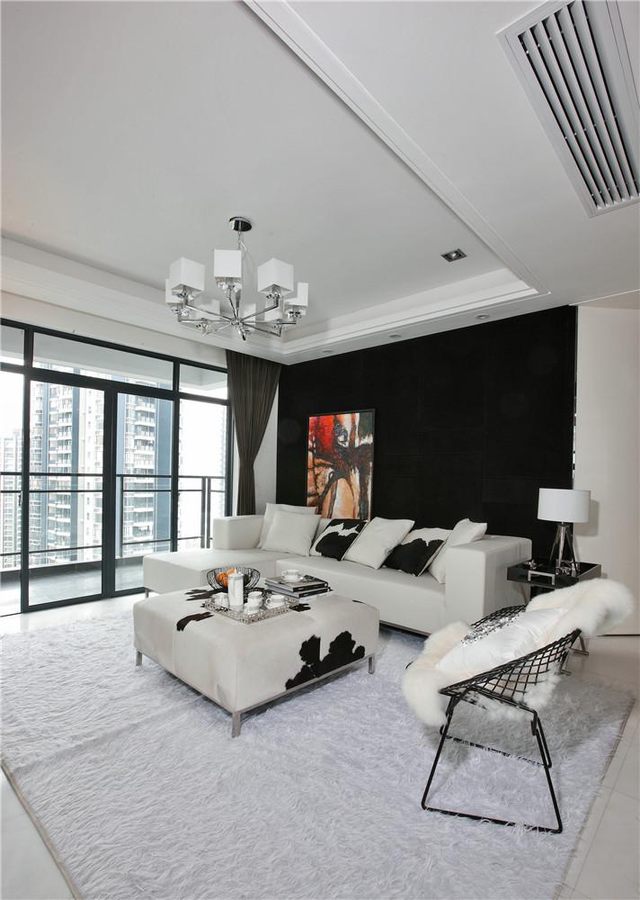 现代简约黑色沙发背景墙装修效果图