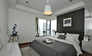 黑白现代简约卧室装修效果图
