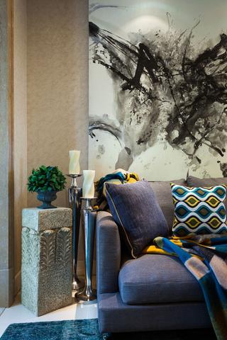 89㎡混搭风格二居装修客厅局部图片