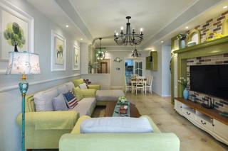 110平美式三居室装修效果图
