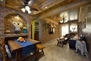 美式乡村风格二居室客餐厅装修效果图