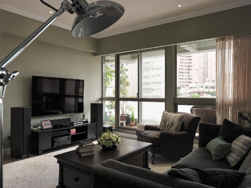 轻美式混搭风格电视背景墙装修效果图