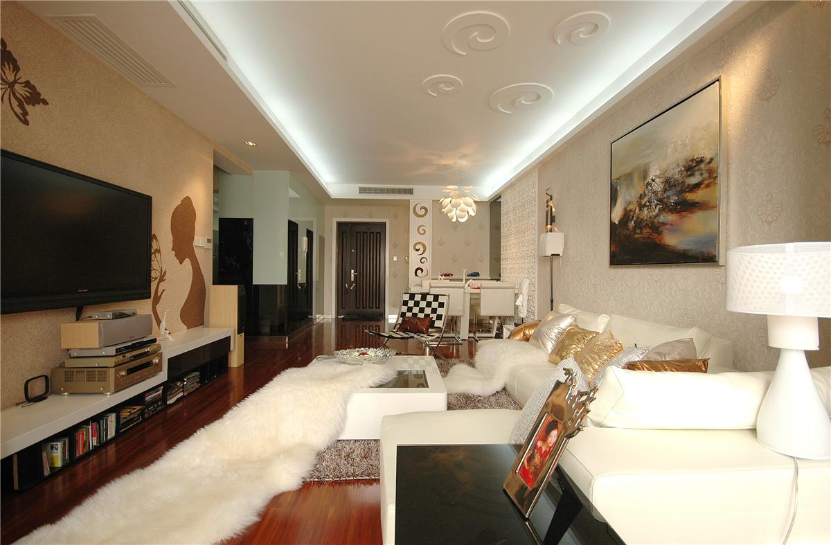 105平现代风格客厅装修效果图