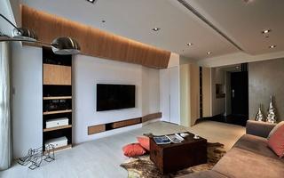 135㎡现代风三居电视背景墙装修设计图