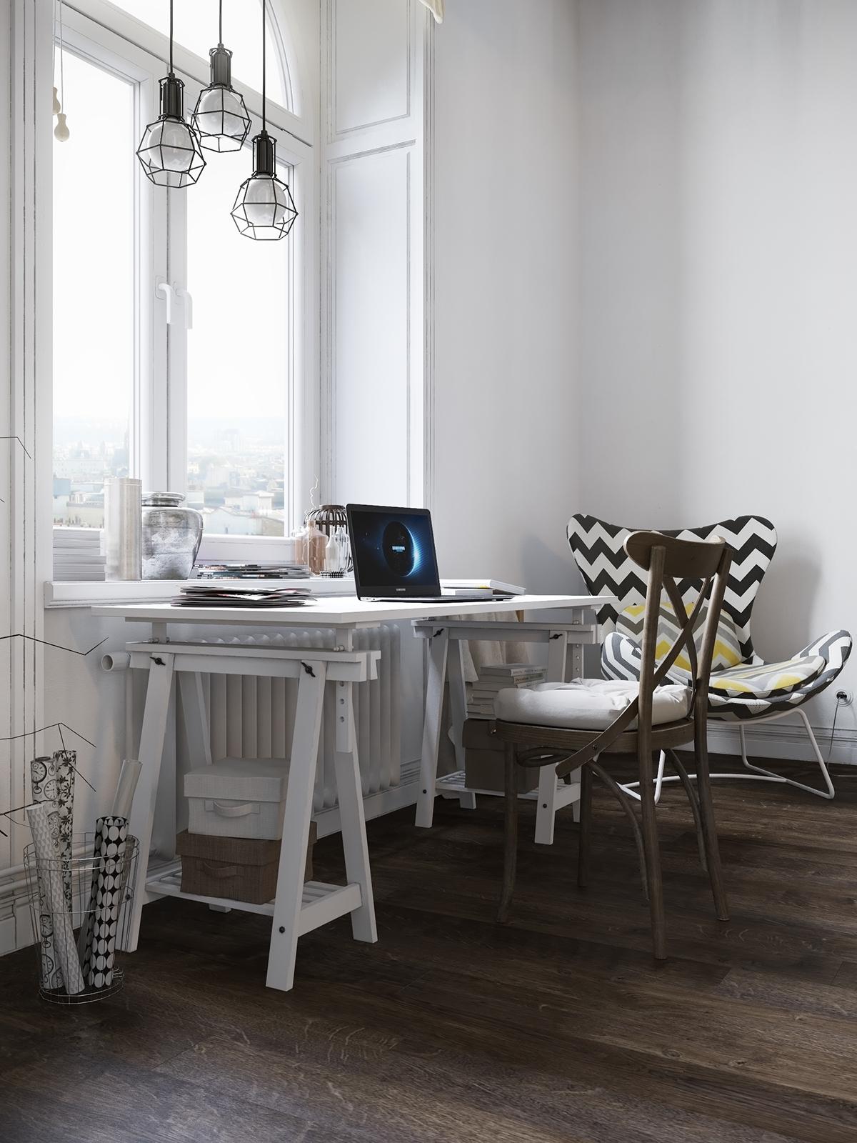 Loft公寓装修书桌设计效果图