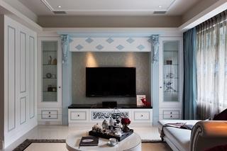 现代古典混搭三居电视背景墙装修效果图