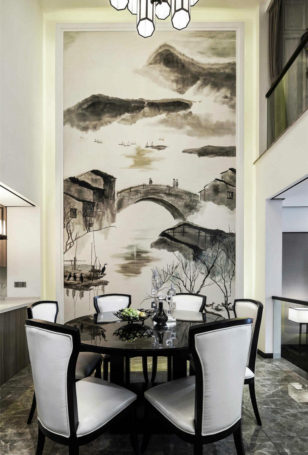 新中式风格别墅餐厅背景墙装修效果图