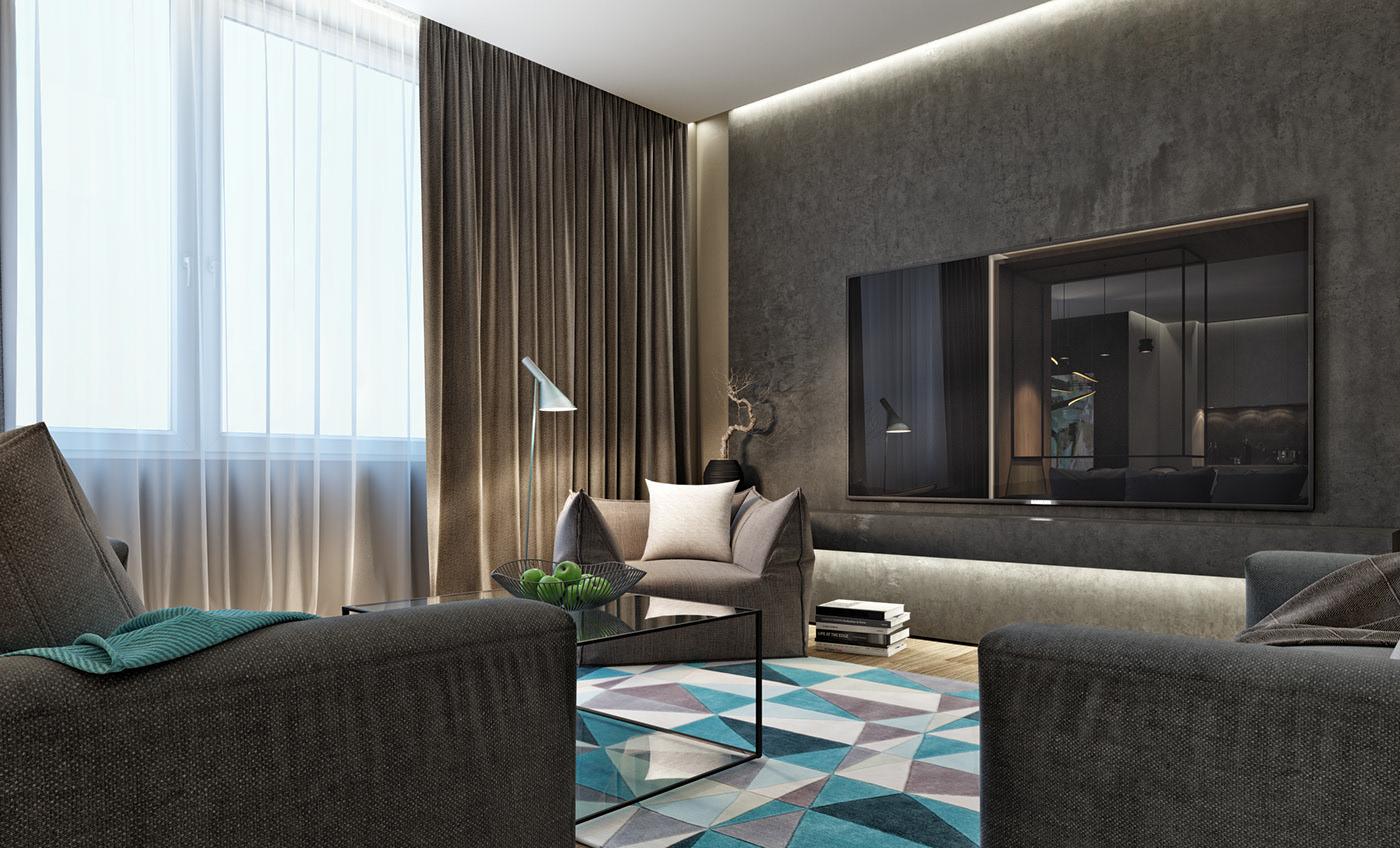 小户型简约公寓电视背景墙装修效果图