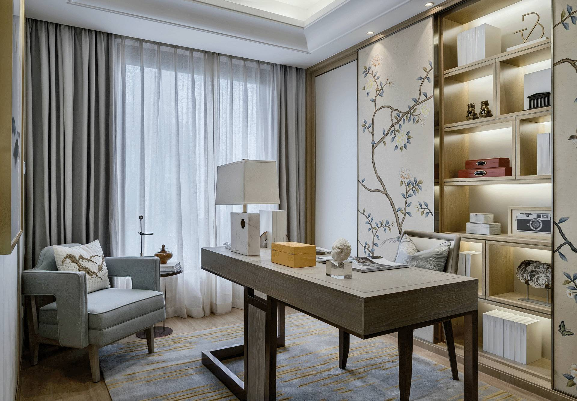 新中式风格别墅书房装修效果图