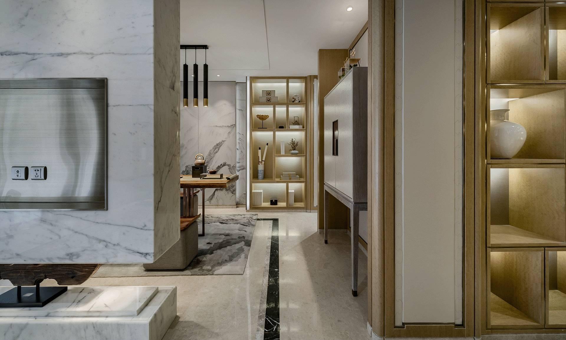 新中式风格别墅过道装修效果图