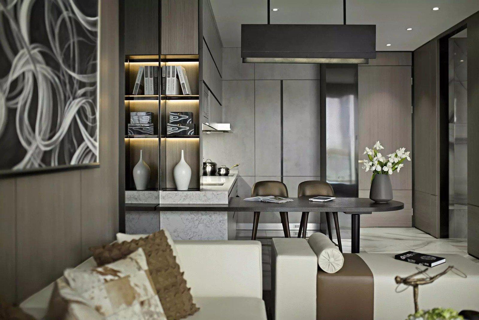 现代公寓样板房吧台装修效果图